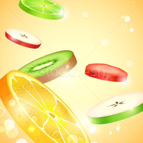 Fruits frais tranches illustration coloré alimentaire fond Photo stock © vectomart