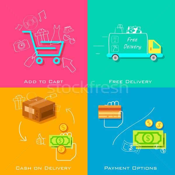 Ekereskedelem illusztráció online vásárlás telefon internet mobil Stock fotó © vectomart