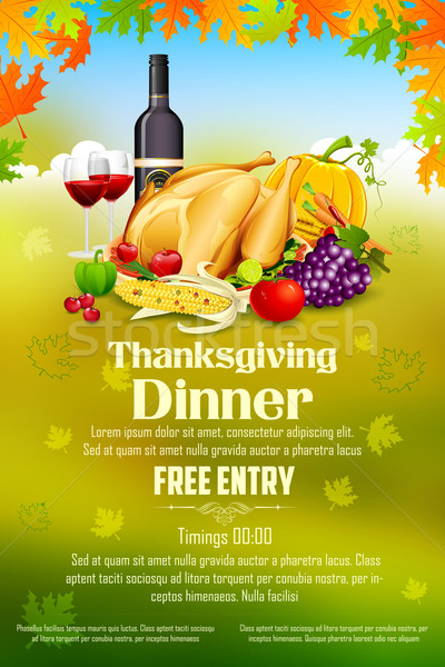 Thanksgiving celebration banner with maple leaf Stock photo © vectomart