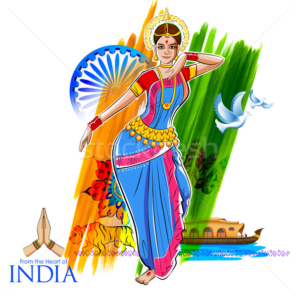 Female dancer dancing on Indian background showing colorful culture of India Stock photo © vectomart