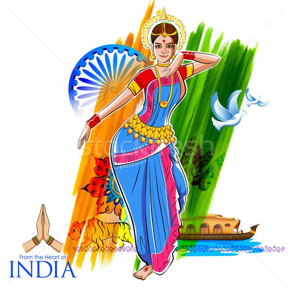 Feminino dançarina dança indiano colorido Foto stock © vectomart