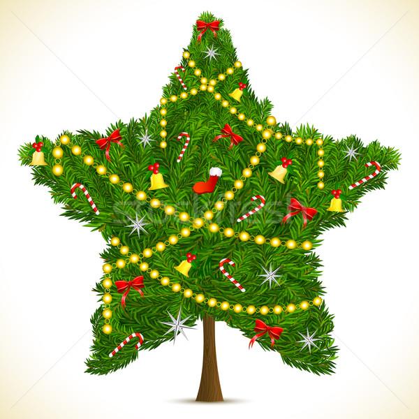 Foto stock: Estrela · forma · árvore · de · natal · ilustração · abstrato · verde