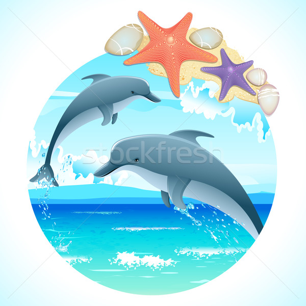 Jumping Dolphins Stock photo © vectomart