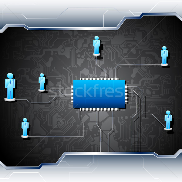 Human Networking on Motherboard Stock photo © vectomart