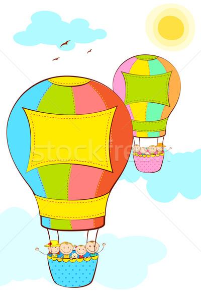 Kids in Hot Air Balloon Stock photo © vectomart