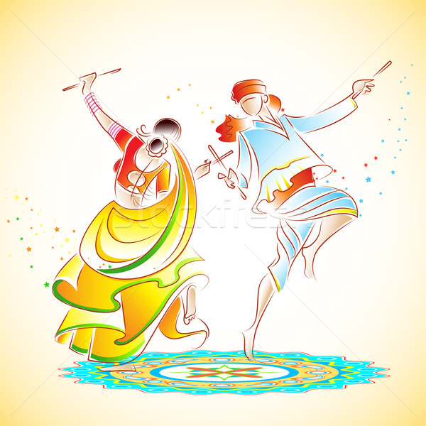 Couple playing Dandiya Stock photo © vectomart