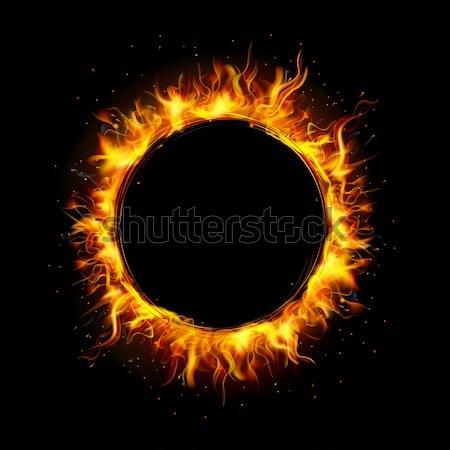 Tűz kör illusztráció láng körkörös keret Stock fotó © vectomart