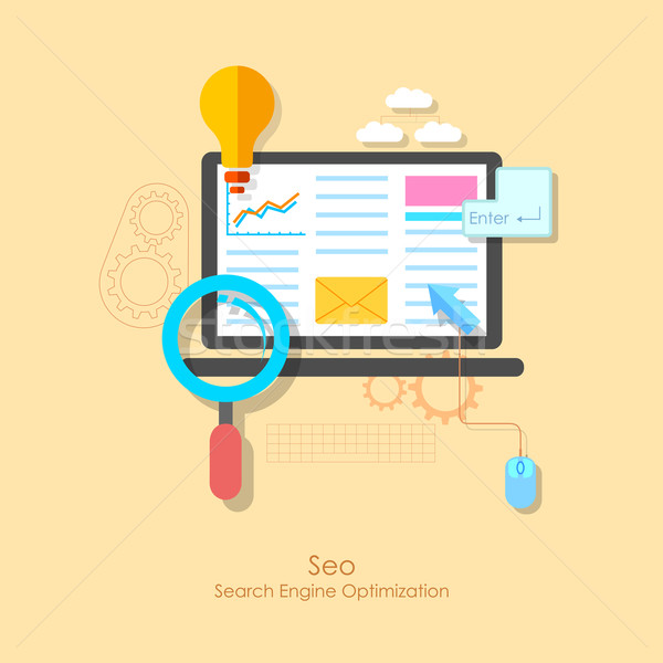 Seo illustration ordinateur design web communication Photo stock © vectomart
