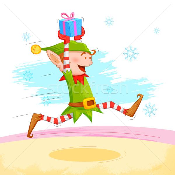 Elf christmas geschenk illustratie achtergrond vak Stockfoto © vectomart
