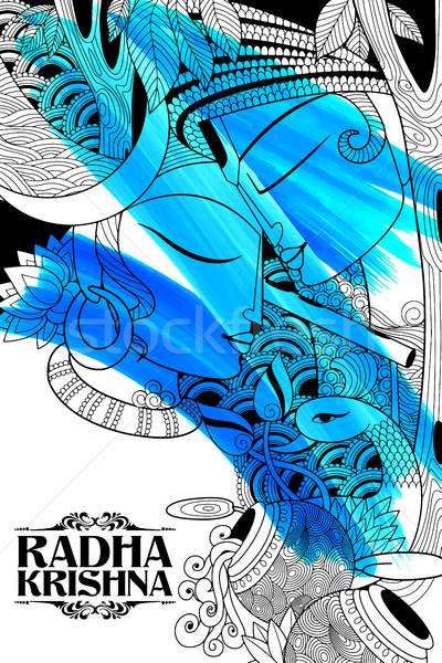 Radha and Lord Krishna on Janmashtami Stock photo © vectomart