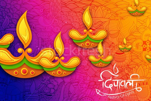 Brandend diwali vakantie licht festival Indië Stockfoto © vectomart