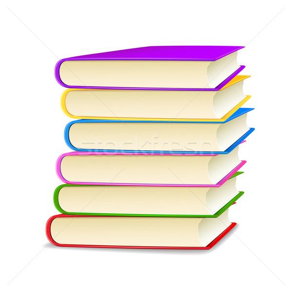 スタック 図書 実例 カラフル 白 図書 ストックフォト © vectomart