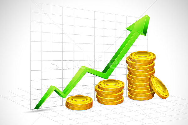 Gold Coin Bar Graph Stock photo © vectomart