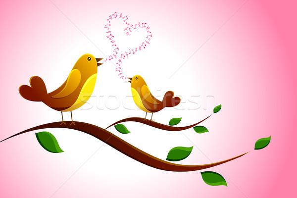 Singen Liebe Vogel Illustration Paar Song Stock foto © vectomart