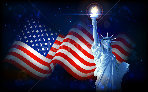 Statue of Liberty with American Flag Stock photo © vectomart