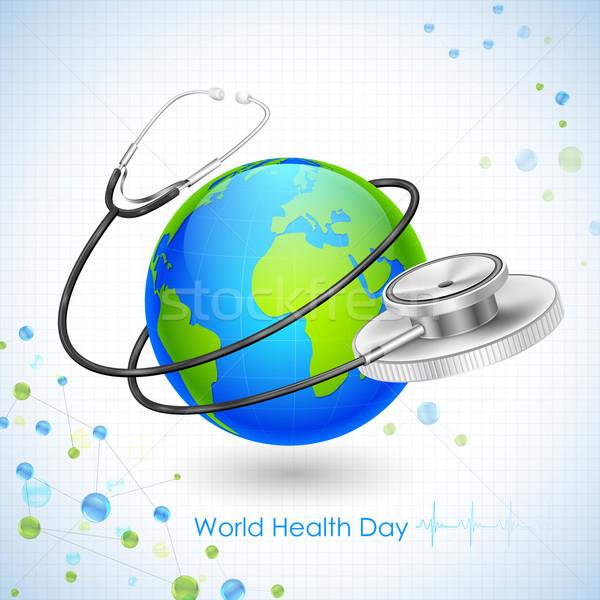 świat zdrowia dzień ilustracja około ziemi Zdjęcia stock © vectomart