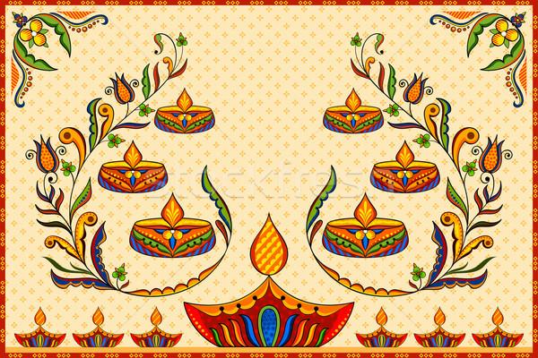 Stock photo: Happy Diwali background with diya