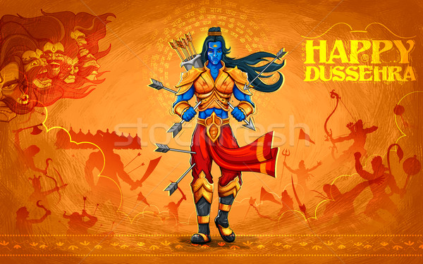 Lord Rama with arrow killing Ravana Stock photo © vectomart