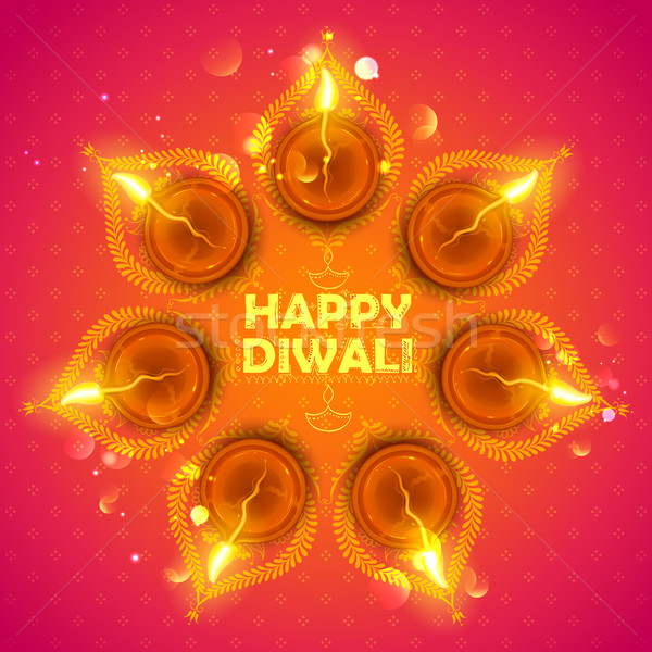 Brennen glücklich Diwali Urlaub Licht Festival Stock foto © vectomart