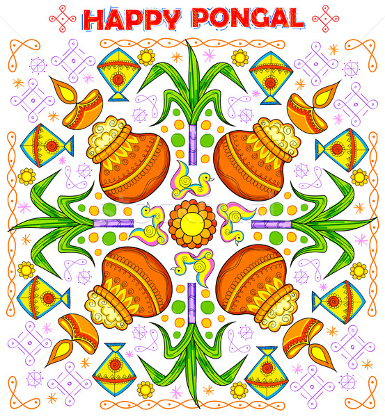Happy Pongal greeting background Stock photo © vectomart