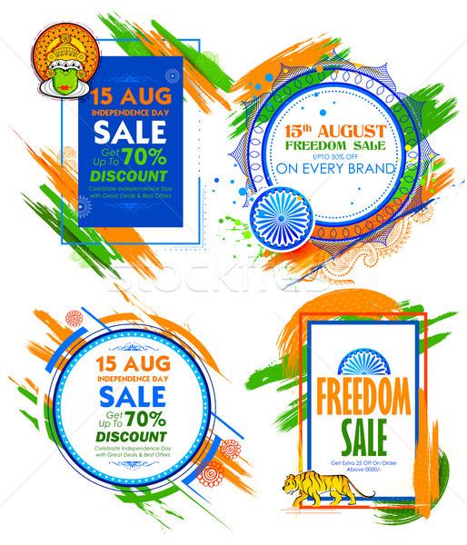 день продажи баннер индийской флаг триколор Сток-фото © vectomart