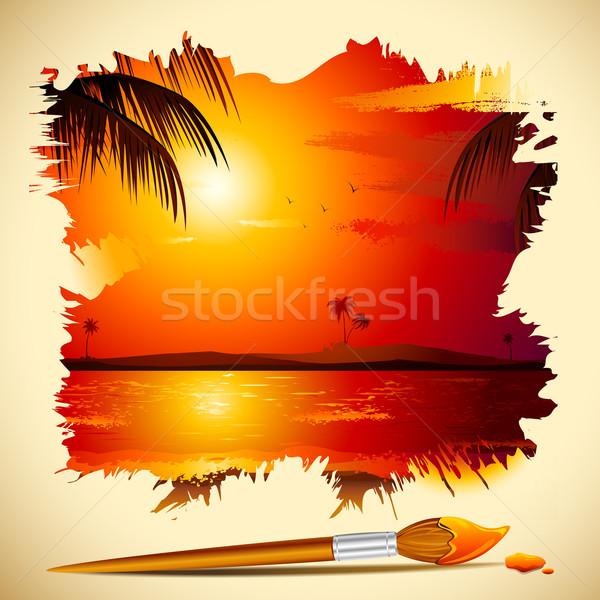 Boyama Gün Batımı Görmek örnek Deniz Fırçalamak Vektör