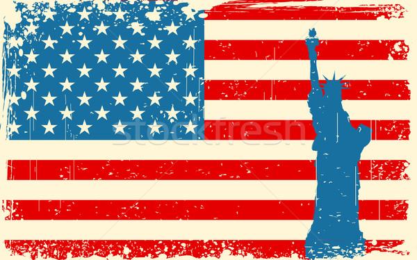 Stok fotoğraf: Heykel · özgürlük · amerikan · bayrağı · örnek · dünya · arka · plan