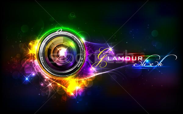 Kameralencse illusztráció báj buli fény technológia Stock fotó © vectomart
