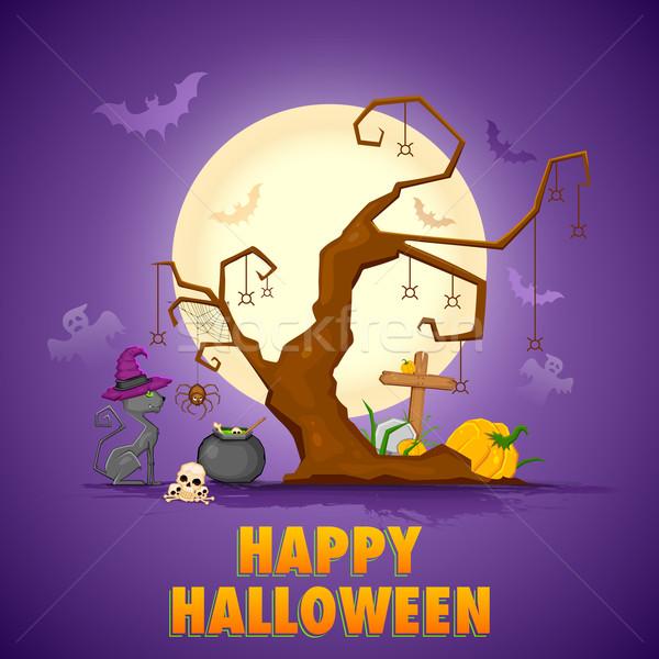 Scary kat halloween nacht illustratie koken Stockfoto © vectomart