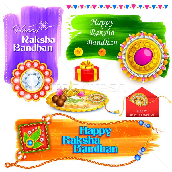 Raksha Bandhan background with rakhi and gift Stock photo © vectomart