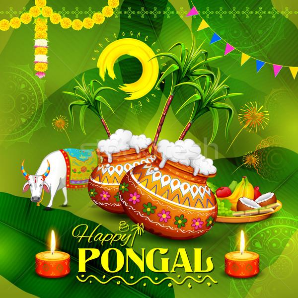 Happy Pongal greeting background Stock photo © vectomart