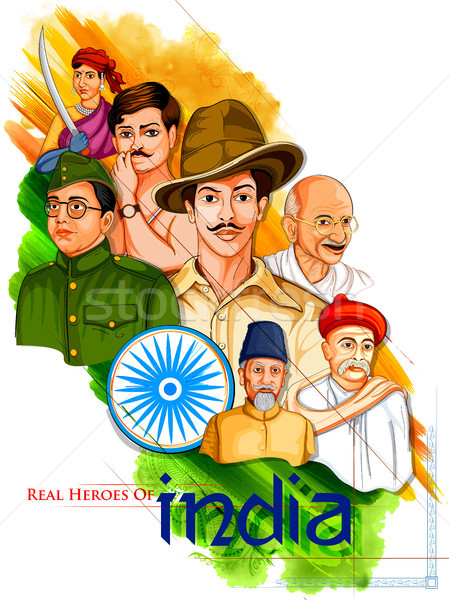 Stock photo: Tricolor India background with Nation Hero and Freedom Fighter for Independence Day