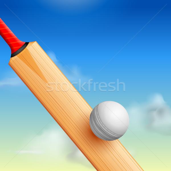 Cricket bat sport illustratie bal sport Stockfoto © vectomart