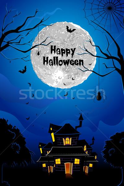 Halloween nawiedzony domu ilustracja scary noc Zdjęcia stock © vectomart