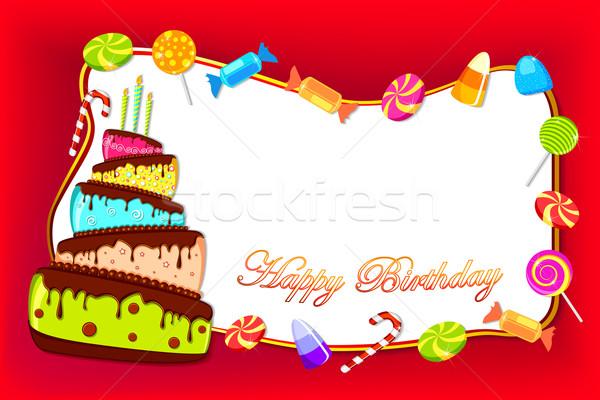 Feliz cumpleaños tarjeta ilustración colorido torta dulce Foto stock © vectomart