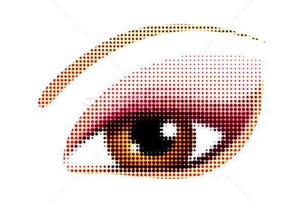 Menselijke oog illustratie halftoon stijl achtergrond Stockfoto © vectomart