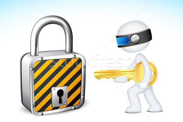 3d Man with Lock and Key Stock photo © vectomart
