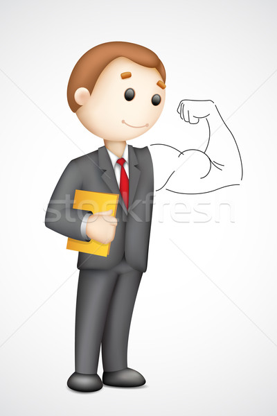 Homme d'affaires biceps illustration 3D vecteur Photo stock © vectomart