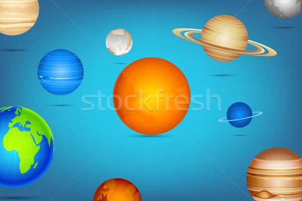 Sistemul solar ilustrare planetă abstract soare Lună Imagine de stoc © vectomart