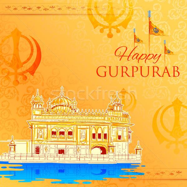 счастливым гуру фестиваля сикх празднования иллюстрация Сток-фото © vectomart