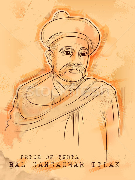 Vintage Indian background with Nation Hero and Freedom Fighter Bal Gangadhar Tilak Pride of India Stock photo © vectomart