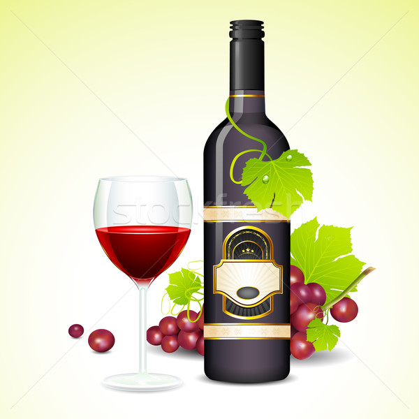 Wine Glass and Bottle Stock photo © vectomart
