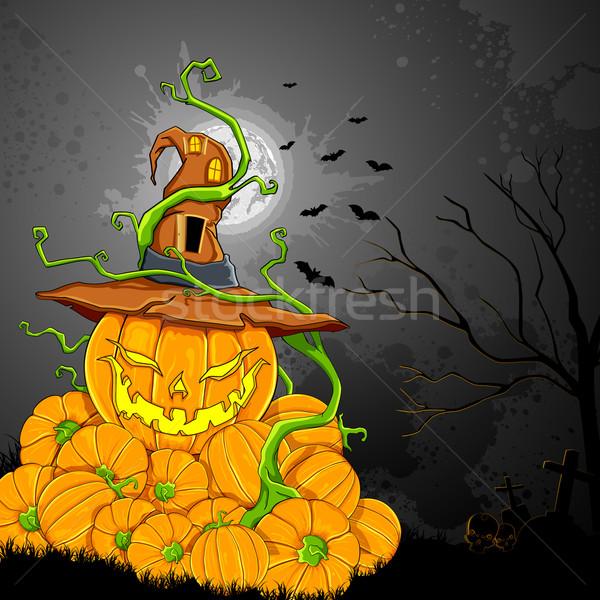 Illustratie pompoen halloween nacht vakantie Stockfoto © vectomart
