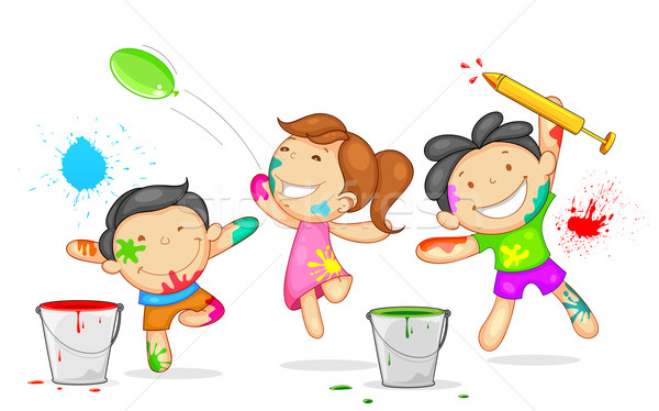 Kids playing Holi Stock photo © vectomart