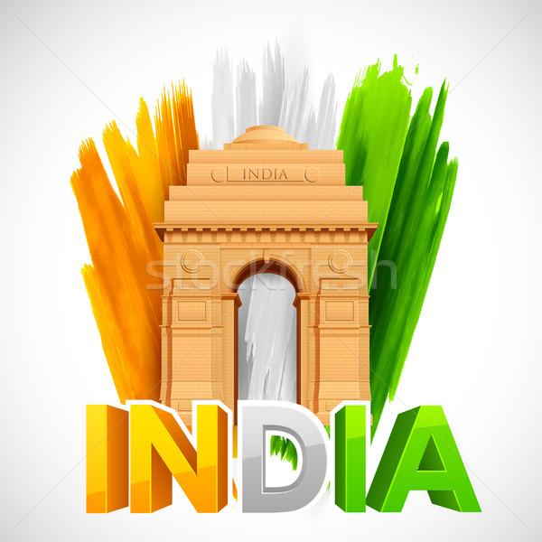 Hindistan kapı üç renkli örnek özgürlük Stok fotoğraf © vectomart
