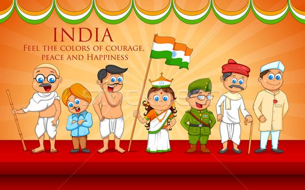 Gyerekek jelmez indiai szabadság vadászrepülő illusztráció Stock fotó © vectomart