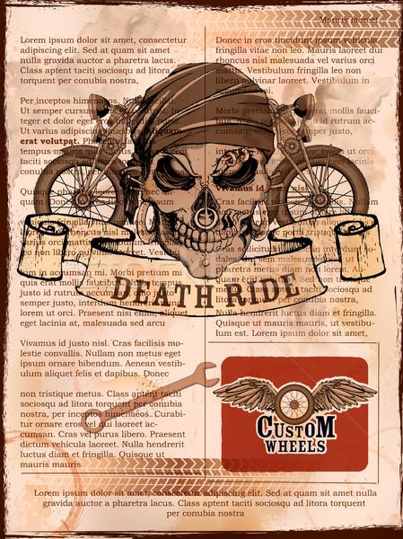 Skull on vintage motorcycle background Stock photo © vectomart