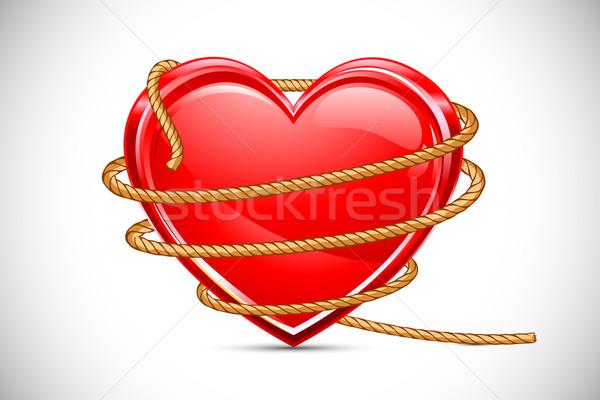Szív kötél illusztráció absztrakt háttér házasság Stock fotó © vectomart