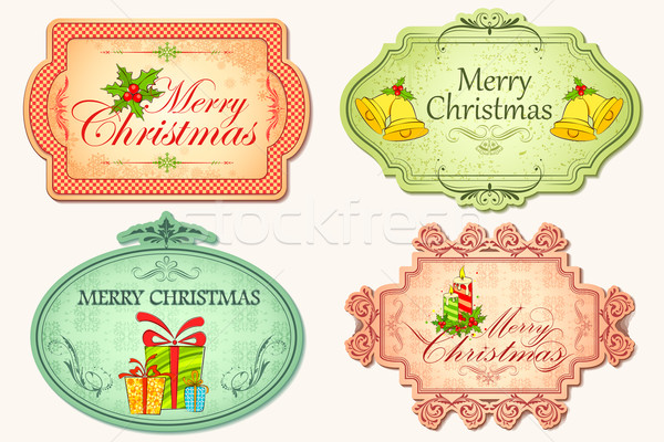 Retro Christmas Sticker Stock photo © vectomart