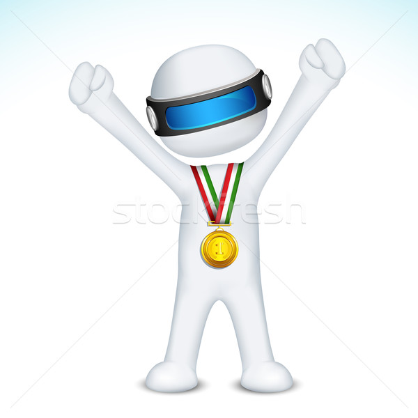 3d man with Gold Medal in vector Stock photo © vectomart